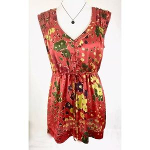 CABI Red Floral Sleeveless Tunic Blouse
